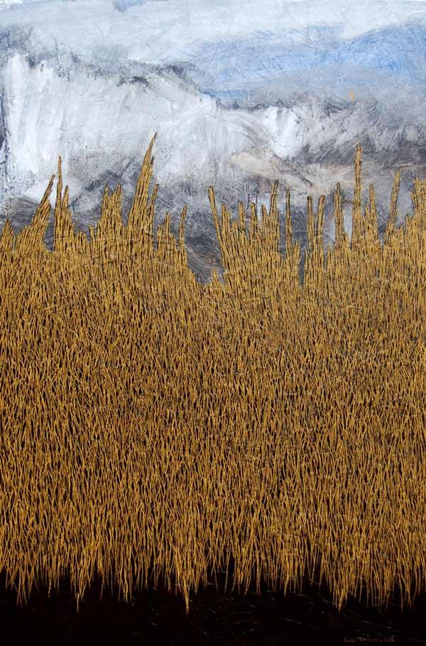 Tableau paysage avec herbes jaune